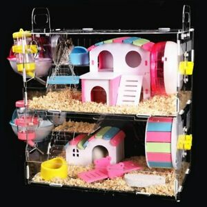 Large Hamster Cage House Acrylic Plastic Glass Villa With The Pipe Accessories