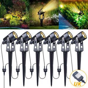6Pcs Garden Spike Lights Spotlights Mains 12V Landscape LED Outdoor Lighting