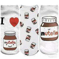 Nutella Socks X 3 Pairs Ladies/Girls Low Ankle Socks Novelty Xmas Secret Santa