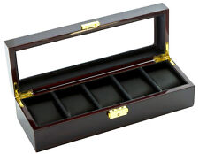 Window, Ebony Wood Finish, Black Leatherette Five Watch Case by Diplomat w/ View