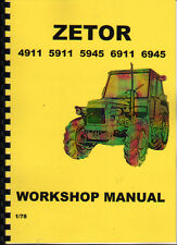 1878 ZETOR 4911/5911/5945/6911/6945 Workshop Manual Book