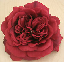 "Full 5.5"" Deep Red Rose Silk Hair Clip,Pin Up,Updo,Rockabilly,Hat"