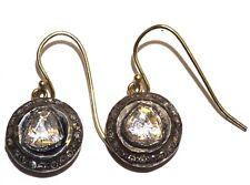 14k yellow gold 1.40ct I2 brown diamond slice fancy dangle earrings 3.8g womens