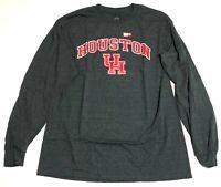 Mens University of Houston Cougars T-Shirt Size L Gray Long Sleeve New U of H