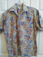 Men's Pierre Cardin Green, Orange & Blue Foliage Hawaiian Shirt size XL