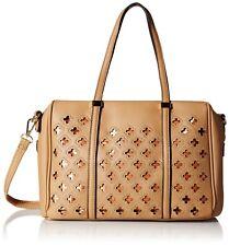 MG Collection Beatriz Cutout Bowling Tote Shoulder Bag, Light Khaki, One Size
