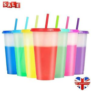 7pcs Reusable Color Changing Cups Cold Drinks Travel Tumbler with Lid Straw
