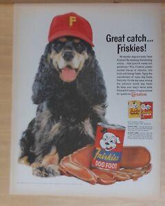 1961 magazine ad for Friskies Dog Food - Spaniel with baseball cap & glove