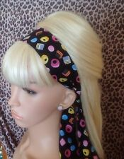 BLACK  LIQUORICE ALLSORTS SWEET PRINT NOVELTY HEAD BAND HAIR SCARF SELF TIE BOW