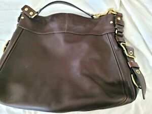 Womens Coach Brown Leather Hobo Shoulder Bag w Gold Buckle Details