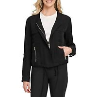 DKNY Women's Foundation Roll Tab Zip-Front Jacket, Black, Size XL, $119, NwT