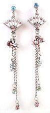 £25 Silver White Pink Blue Flower Long Drop Earrings Swarovski Elements Crystal