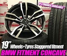 "19"" Black pol bmw style Concave alloy wheels 3/5 series csl staggered with tyres"