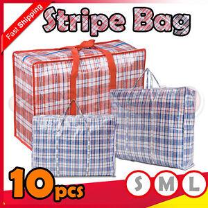 10 x Stripe Bag Packing Storage Strip Zip Shopping Travel Check House Moving