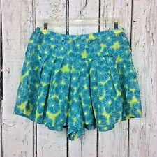"NANETTE LEPORE Size 0 Shorts Lime Turquoise Drop Waist Wide Leg 100% ""Skirt"""