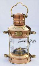 NAUTICO in OTTONE & RAME Lampada Olio di ancoraggio NAVE MARITTIMA Appeso Lanterna Luce BARCA