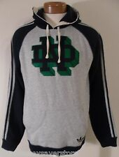 NWT Adidas Notre Dame Fighting Irish Mens Fleece Pullover Hoodie S Grey/Navy $70