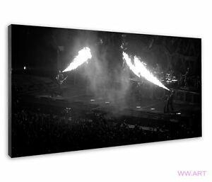 Rammstein On Stage Breathing Fire Monochrome Image Canvas Wall Art Picture Print