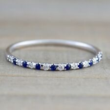 925 Sliver Blue Sapphire Women Jewelry Wedding Proposal Gift Party Ring Sz5-10