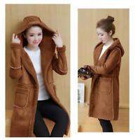 Winter Women's Hooded Hoodie Jacket Suede Coat Long Sleeve Outwear Top Plus Size