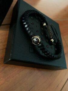 DIESEL men's black leather bracelet, NEW