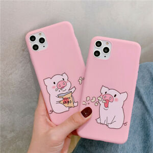 2Pcs Cute Pig Lover Soft Silicone Case for iPhone 12 11 Pro Max X Xs XR 8 7 Plus