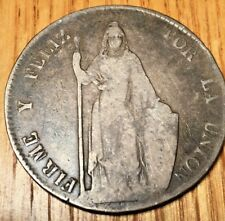 1847 MB Peru 8 reales Lima silver crown peso republic real coin south america