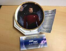 """Comm. Wm.T. Riker,Star Trek, Next Generation, T. Blackshear 8"""" plate Nib 1994"""