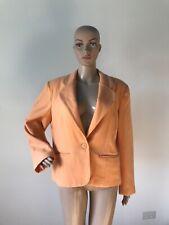 Adolfo Made in USA 100% Wool Orange Sherbet Blazer Jacket Suit Coat 12P Petite L
