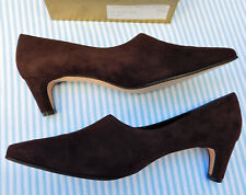 GINA suede court shoes dark brown UK Ladies size 7 NEW Ambers leather soles