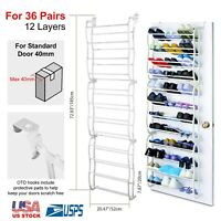 Over The Door 36 Pairs Shoe Organizer Rack Hanging Storage Holder Hanger Closet