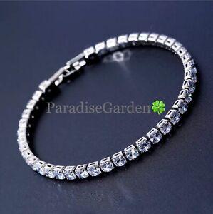 "Mens Bracelet 14k White Gold 5mm Diamond Row Tennis Chain Size 5""-11 inch"