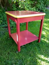 Vintage Square Occasional Solid Wood Side Table Painted Shabby Chic Castors