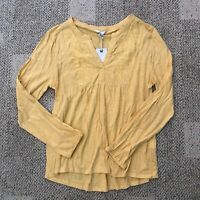 Lucky Brand Womens Long Sleeve Peasant Top Yellow Size Large 7WP6111