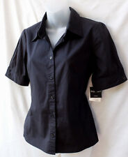 Rockmans Size 8 Work Shirt Top NEW+TAGS Womens Black Short Sleeve Stretch