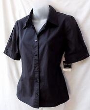 Rockmans Sz8 XS Corporate Shirt Top NWT Black Short Slv Stretch Wrinklefree Work