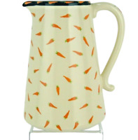 """18 Carrots Pitcher """"Carrot Toss"""" Laura Kelly Blue Sky Clayworks Ceramic 8.25"""""""