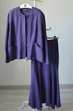 Ralston Lagenlook Linen Jacket Blazer + Skirt Set Suit Purple Size L