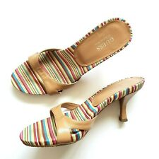 Guess By Marciano Pink Beige Striped Rainbow Mules Woman's Summer Heel Size US 8
