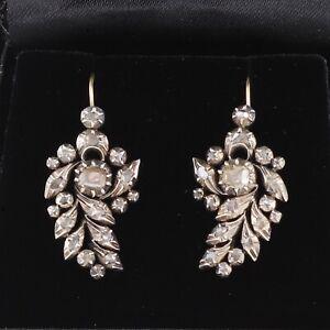 Antique Georgian 18Ct Gold And Silver Diamond Drop Earrings