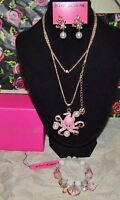 3PC BETSEY JOHNSON PINK OCTOPUS W/CRYSTALS NECKLACE CORAL EARRINGS & BRACELET