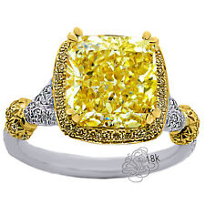4.91CT RADIANT CANARY DIAMOND HALO ENGAGEMENT RING 18K WHITE & YELLOW GOLD