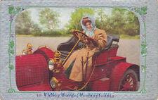 Postcard 1911 woman driving vintage car wearing Duster women's Lib Modern