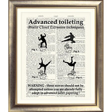 TOILET SIGN 'ART PRINT ON ORIGINAL ANTIQUE BOOK PAGE' Bathroom Funny Rude Gift
