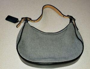 Coach Ladies Cloth Small Purse Black Leather Womens Wallet Handbag Free Shipping