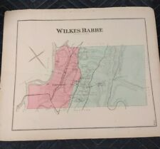 EARLY ANTIQUE 1873 HAND-COLORED MAP OF WILKES BARRE PENNSYLVANIA RAILROADS