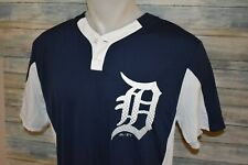 MAJESTIC COOL BASE DETROIT TIGERS Men's S/S Henley Baseball Shirt Size Large