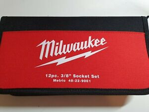 "Brand NEW Milwaukee 48-22-9001 12 Piece 3/8"" Drive Metric Socket Set Tool & Case"