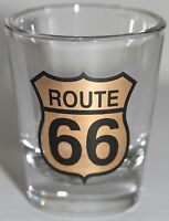 "Route 66 Shot Glass Gold Black 2 1/4"" High"