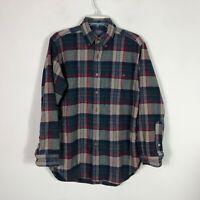 Vintage Pendleton Flannel Men's M Plaid Blue Red Virgin Wool Button Front